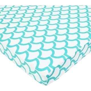 American Baby Company Sea Waves Aqua Cotton Percale Portable/Mini Crib Sheet