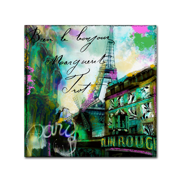 Color Bakery 'To Paris With Love II' Canvas Art - Green