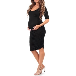 Mother Bee Women's Rayon Ruched Maternity Dress