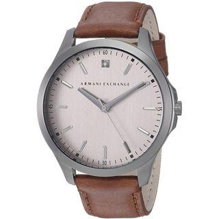 Armani Exchange Men's AX2195 'Dress' Diamond Brown Leather Watch