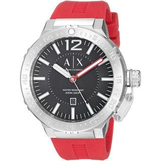 Armani Exchange Men's AX1811 'Active' Red Silicone Watch|https://ak1.ostkcdn.com/images/products/14767503/P21290941.jpg?impolicy=medium