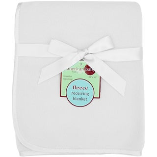 American Baby Company White Fleece Blanket With 3/8-inch Satin Trim