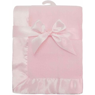 American Baby Company Pink Fleece Satin Trim Blanket