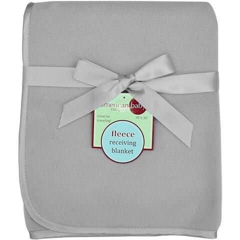American Baby Company Grey Fleece Blanket with 3/8-inch Satin Trim