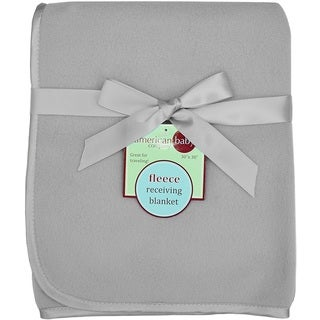 American Baby Company Grey Fleece Blanket with 3/8-inch Satin Trim