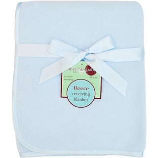 American Baby Company Blue Fleece Blanket with 3/8-inch Satin Trim