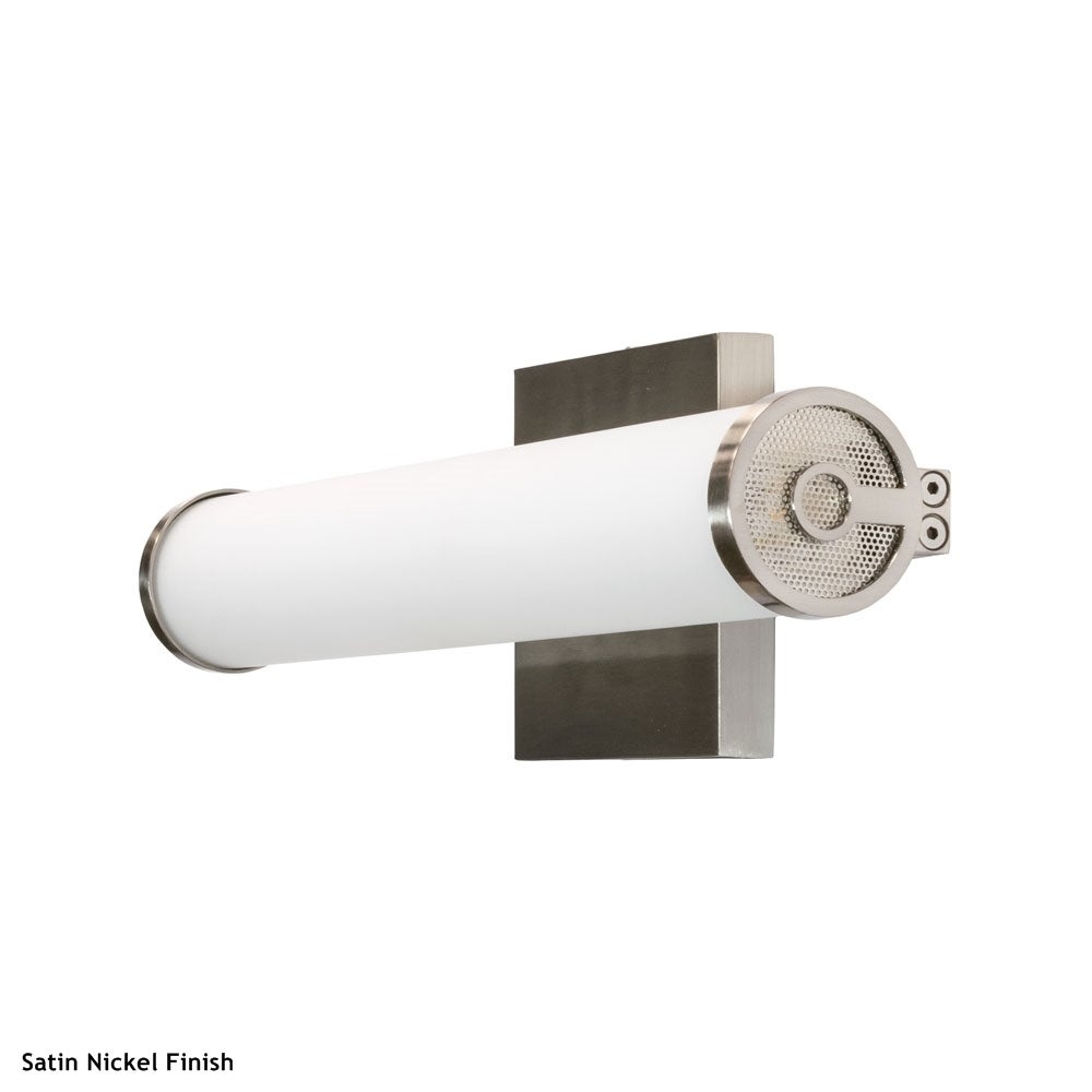 JESCO Brighton Satin Nickel/Glass 13-Inch LED Bathroom Ba...
