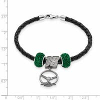 NASCAR Car 18 Sterling Silver and Leather Bead Bracelet