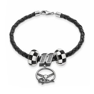 Nascar Car Number 11 Sterling Silver and Leather Bead Bracelet