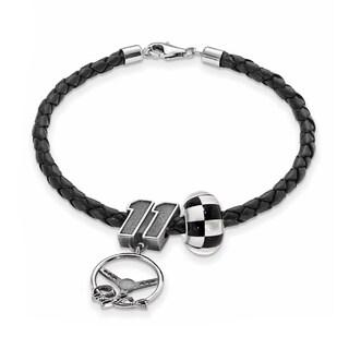 LogoArt Sterling Silver & Leather NASCAR Car Number 11 Bead Bracelet