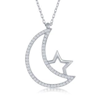 La Preciosa Sterling SIlver Cubic Zirconia Crescent Moon and Star Pendant Necklace