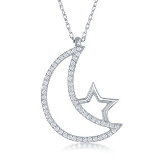 La Preciosa Sterling SIlver Cubic Zirconia Crescent Moon and Star Pendant Necklace