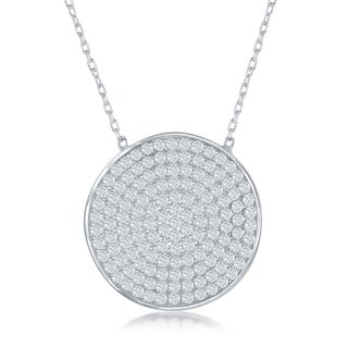 La Preciosa Sterling Silver Cubic Zirconia Round Disc Pendant Necklace