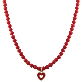 Luxiro Gold Finish Red Enamel Heart Shell Pearl Children's Necklace