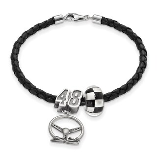 Nascar Sterling Silver and Leather Bead Car# 48 Bracelet