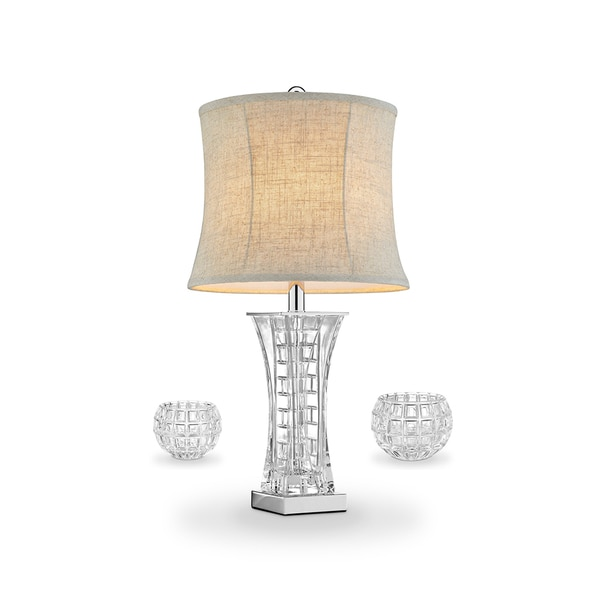 "26.5"" Lunette Glass Table Lamp and Vase (C/H Set)"