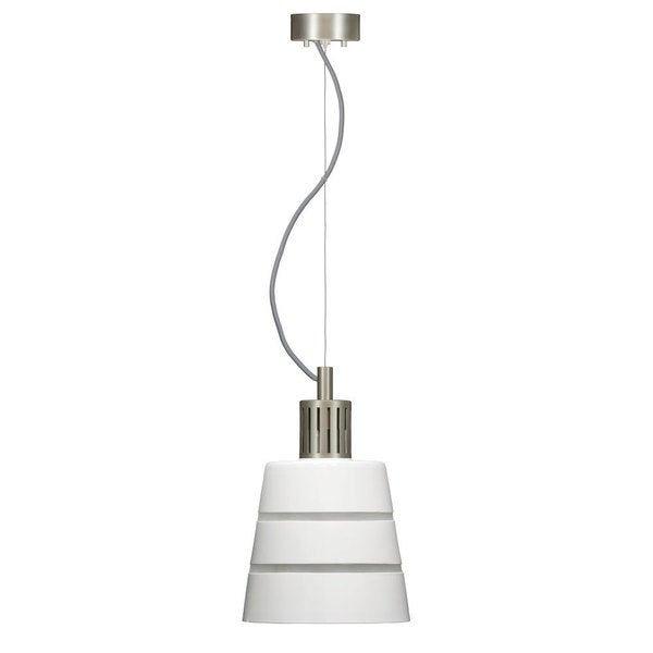 Madison White AC LED Handcrafted Glass Satin Nickel Fittings Pendant