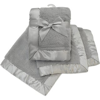 American Baby Company Grey Sherpa Receiving Blanket with 2.5-inch Satin Trim