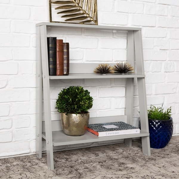 30 Inch Modern Grey Wood Ladder Bookshelf