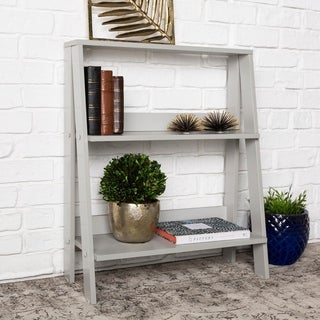 30-inch Modern Grey Wood Ladder Bookshelf