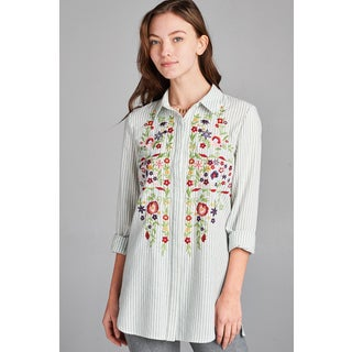Spicy Mix Women's Lexie Embroidered Stripe Cotton Button Front Blouse