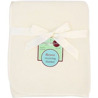 American Baby Company Ecru Fleece Satin Trim Blanket