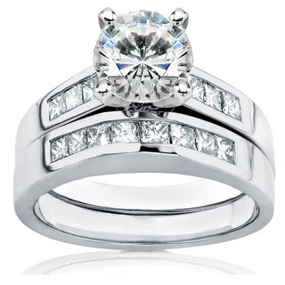 Annello by Kobelli 14k White Gold 1 3/5ct TGW Moissanite and Princess Channel Diamond Bridal Rings Set
