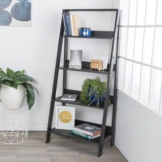 "55"" Wood Ladder Bookshelf - Black"