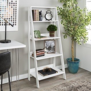 "55"" Wood Ladder Bookshelf - White"