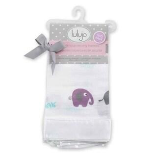 Lulujo Baby Elephants Muslin Cotton Security Blankets (2 Pack)