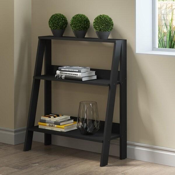 30 Inch Wood Ladder Leaning Black Bookshelf