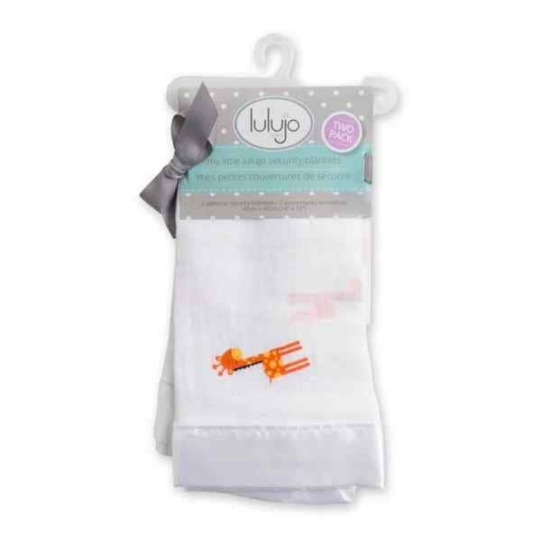 Lulujo Baby Giraffes Muslin Cotton Security Blankets (Set of 2)