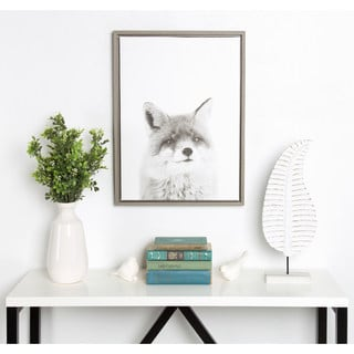 Simon Te Tai DesignOvation Sylvie Fox Black and White Portrait Grey Framed Canvas Wall Art