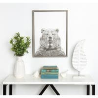 DesignOvation Simon Te Tai 'Sylvie Bear' Black and White Portrait Grey Framed Canvas Wall Art