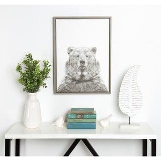 DesignOvation Simon Te Tai 'Sylvie Bear' Black and White Portrait Grey Framed Canvas Wall Art