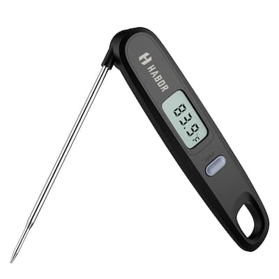 Habor Black Digital Instant-read Cooking Thermometer With Foldable 4.8-inch 304 Food-grade Stainless Steel Probe