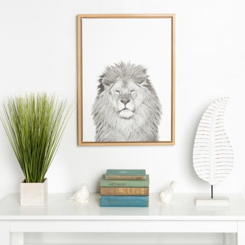 Kate and Laurel Sylvie Lion Animal Portrait Framed Canvas Wall Art by Simon Te Tai, 18x24 Natural