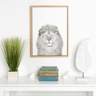 DesignOvation Simon Te Tai 'Sylvie Lion' Black and White Portrait Natural Framed Canvas Wall Art