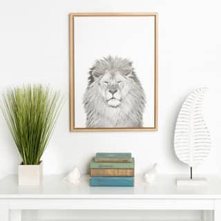 DesignOvation Simon Te Tai 'Sylvie Lion' Black and White Portrait Natural Framed Canvas Wall Art|https://ak1.ostkcdn.com/images/products/14767947/P21291298.jpg?impolicy=medium