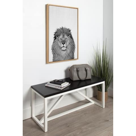 Kate and Laurel Sylvie Lion Framed Canvas by Simon Te Tai