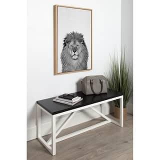 DesignOvation Simon Te Tai Sylvie Lion Black and White Portrait Grey Framed Canvas Wall Art|https://ak1.ostkcdn.com/images/products/14767953/P21291299.jpg?impolicy=medium