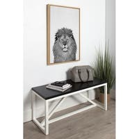 DesignOvation Simon Te Tai Sylvie Lion Black and White Portrait Grey Framed Canvas Wall Art