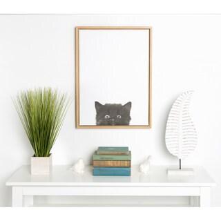 Simon Te Tai 'Sylvie' Black Kitten Portrait Natural-framed Canvas Wall Art