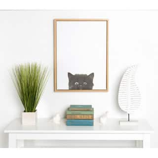 Simon Te Tai 'Sylvie' Black Kitten Portrait Natural-framed Canvas Wall Art