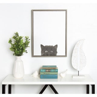 Simon Te Tai DesignOvation Sylvie Black Kitten Portrait Grey Framed Canvas Wall Art