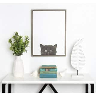 Simon Te Tai DesignOvation Sylvie Black Kitten Portrait Grey Framed Canvas Wall Art