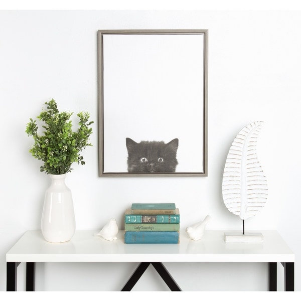 Simon Te Tai DesignOvation Sylvie Black Kitten Portrait Grey Framed Canvas Wall Art. Opens flyout.