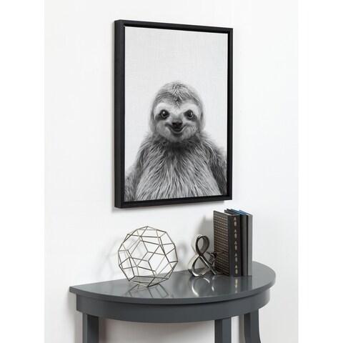 DesignOvation Simon Te Tai 'Sylvie Sloth' Black and White Portrait Grey Framed Canvas Wall Art