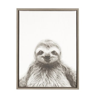 DesignOvation Simon Te Tai 'Sylvie Sloth' Black and White Portrait Grey Framed Canvas Wall Art