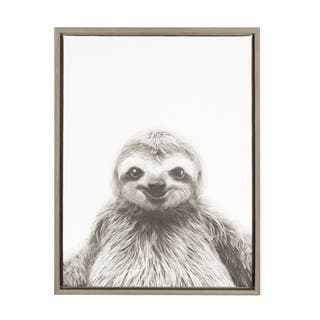 Kate and Laurel Sylvie Sloth Framed Canvas by Simon Te Tai - 18x24